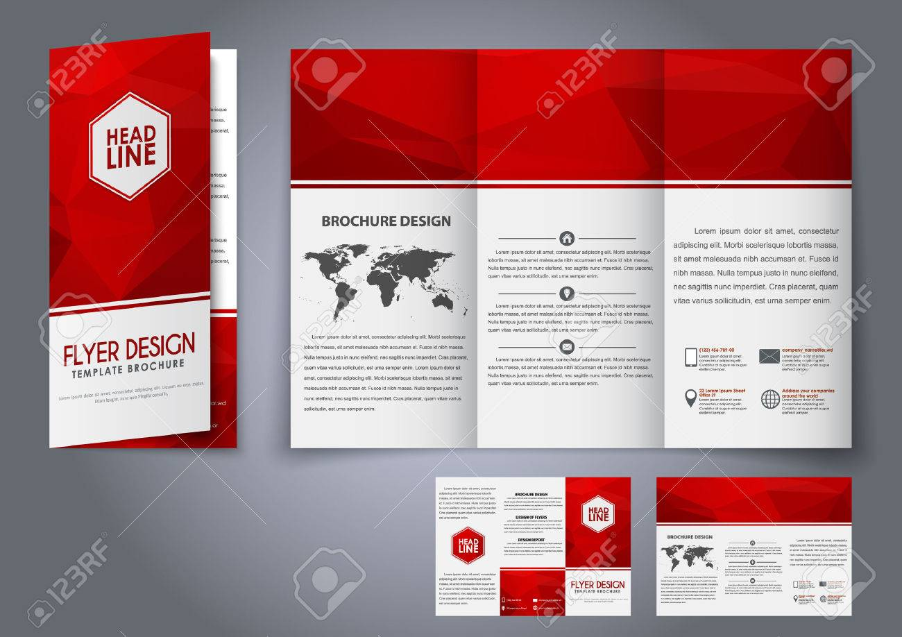 design tri fold flyers brochures red polygonal elements the