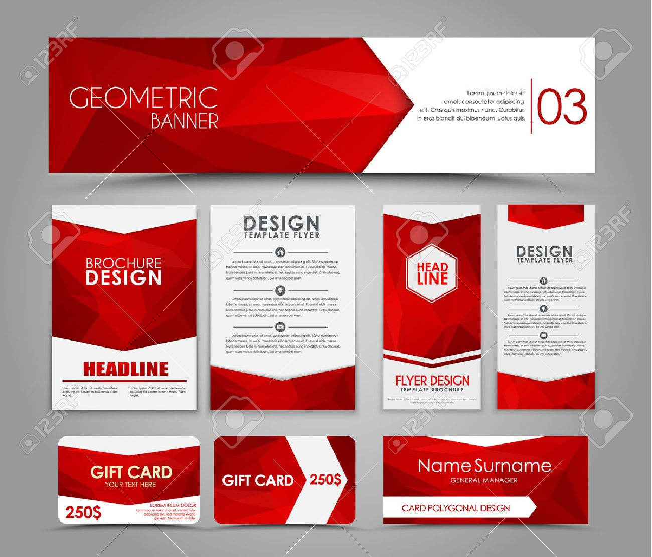 Design of brochures and cards with red polygonal elements. Corporate Identity, Advertising printing. illustration. Set - 52894801