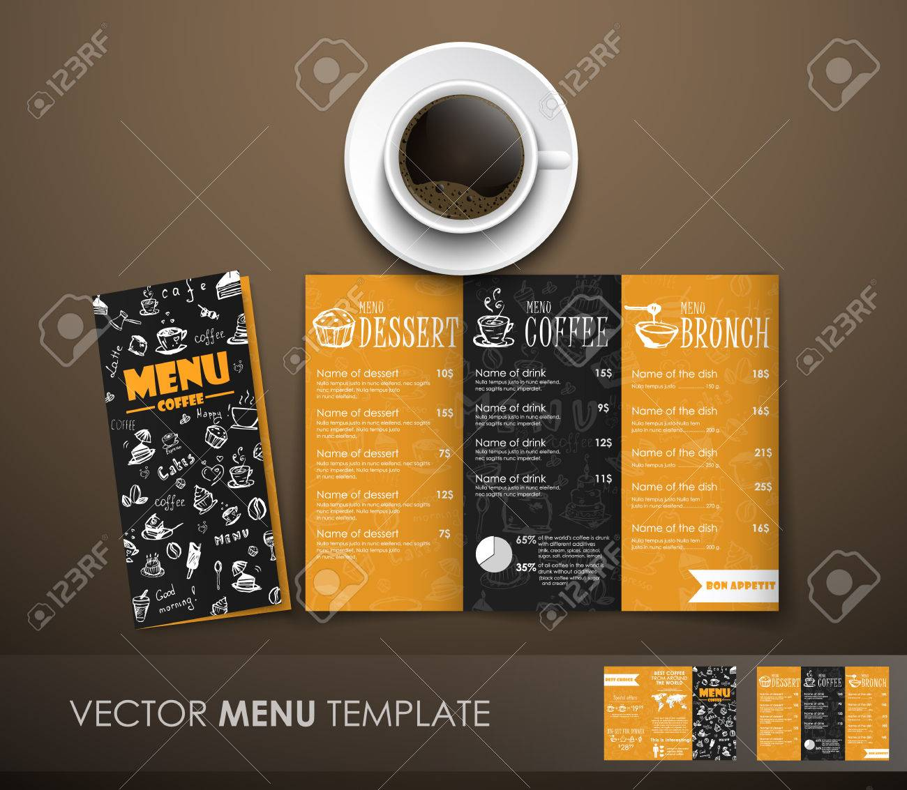 template triple folding menu black and yellow color with elements