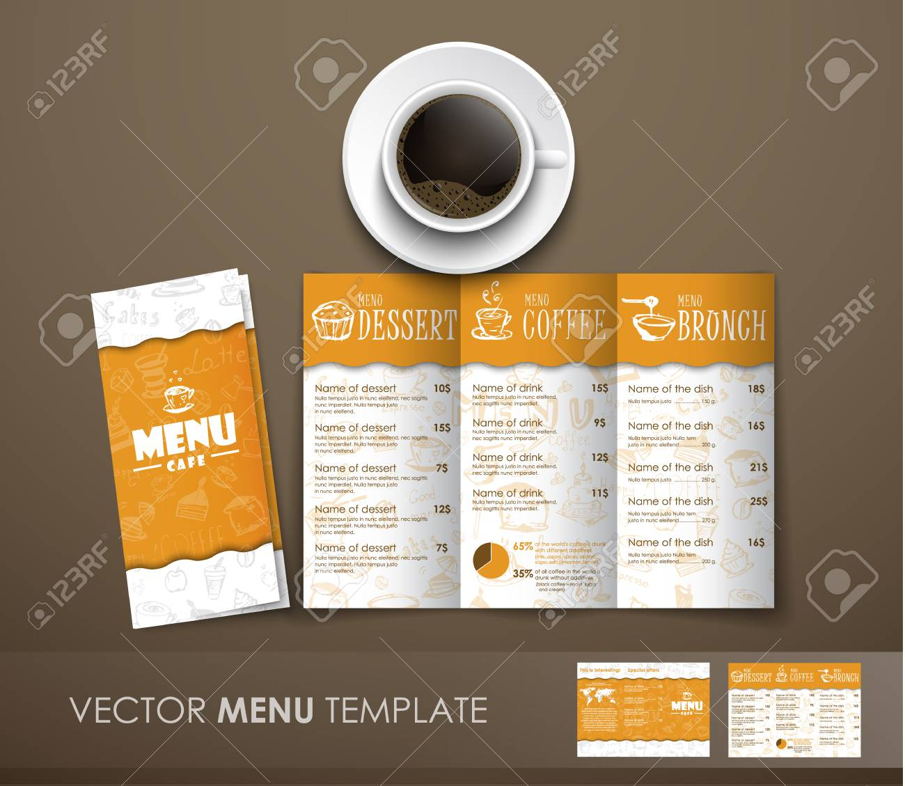 design triple folding menu at the white yellow color with hand