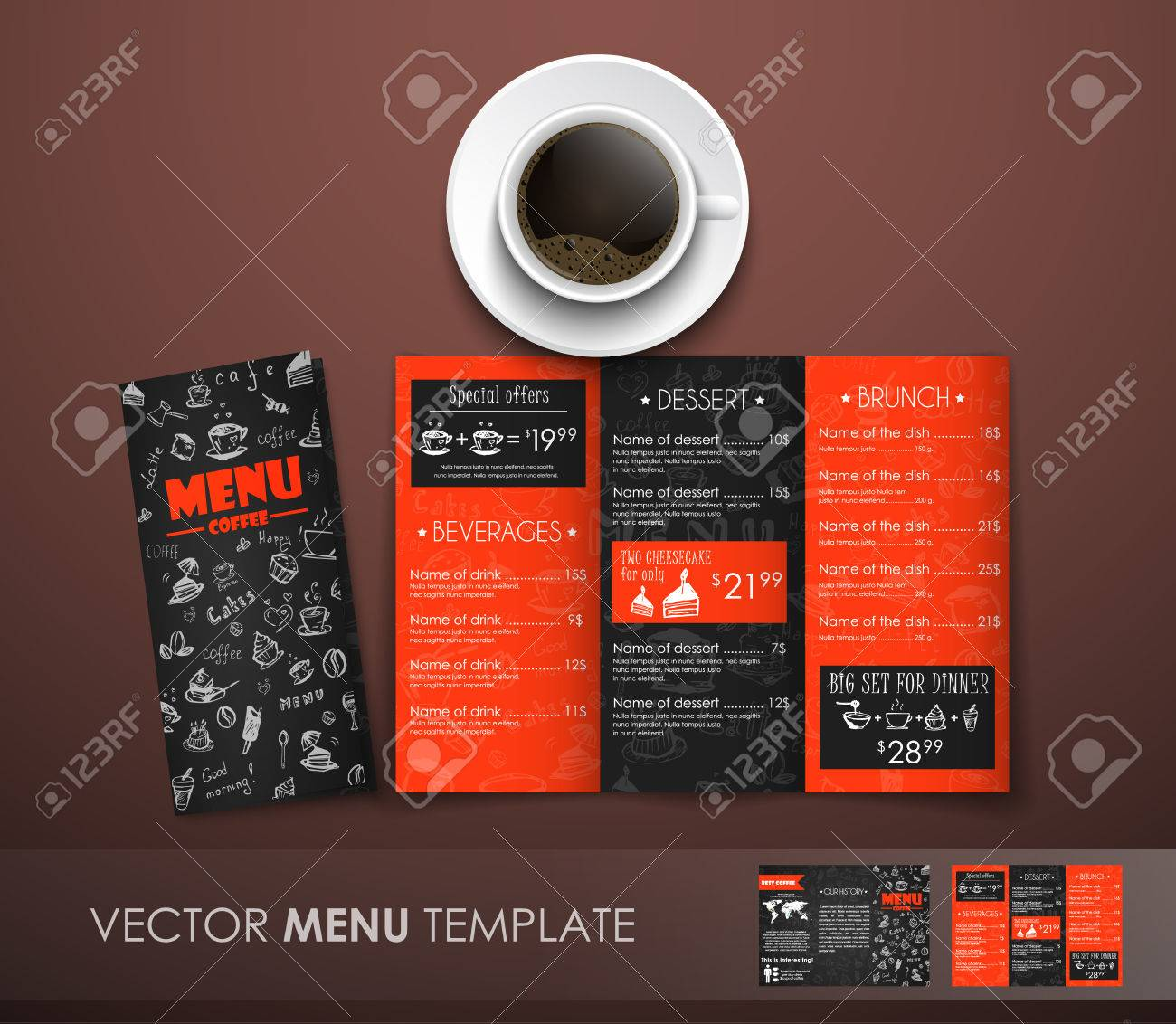 design triple folding menu black and red with elements of drawings