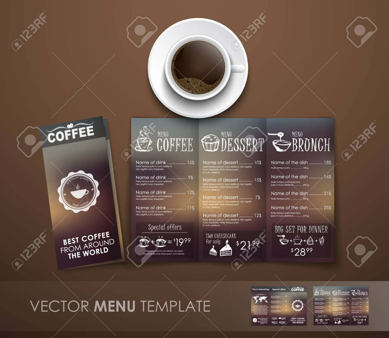 Design Triple Unfolding Coffee Menu With Hand Drawings And Blurred - Menu mockup template