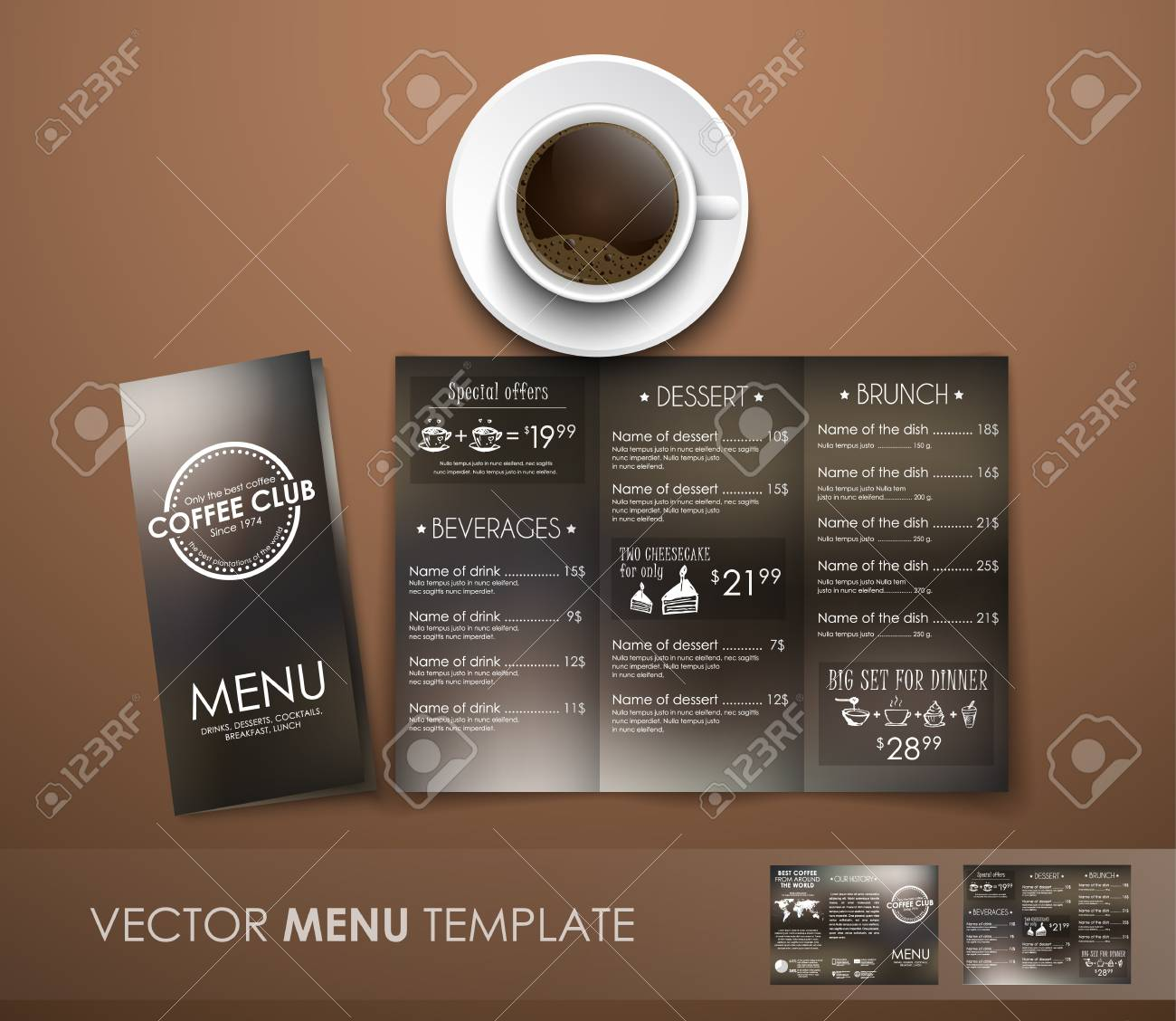 design triple unfolding coffee menu with hand drawings and logo