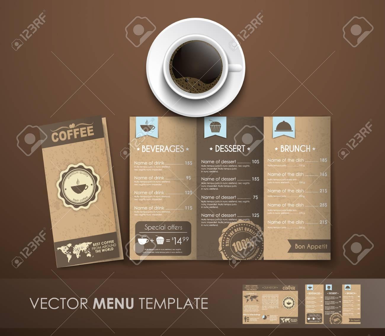 design triple folding menu in retro style textured old bumagi menyu