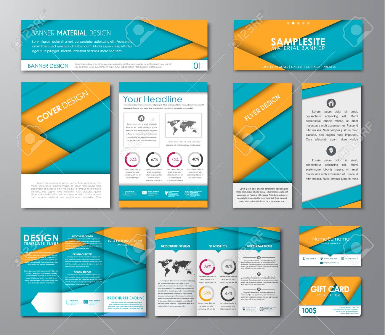 Set Of Corporate Identity Of Flyers, Brochures, Banners, Folding ...