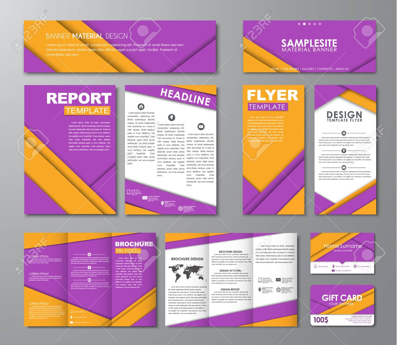 Set of flyers brochures banners folding brochures business set of flyers brochures banners folding brochures business cards hats website reheart Choice Image