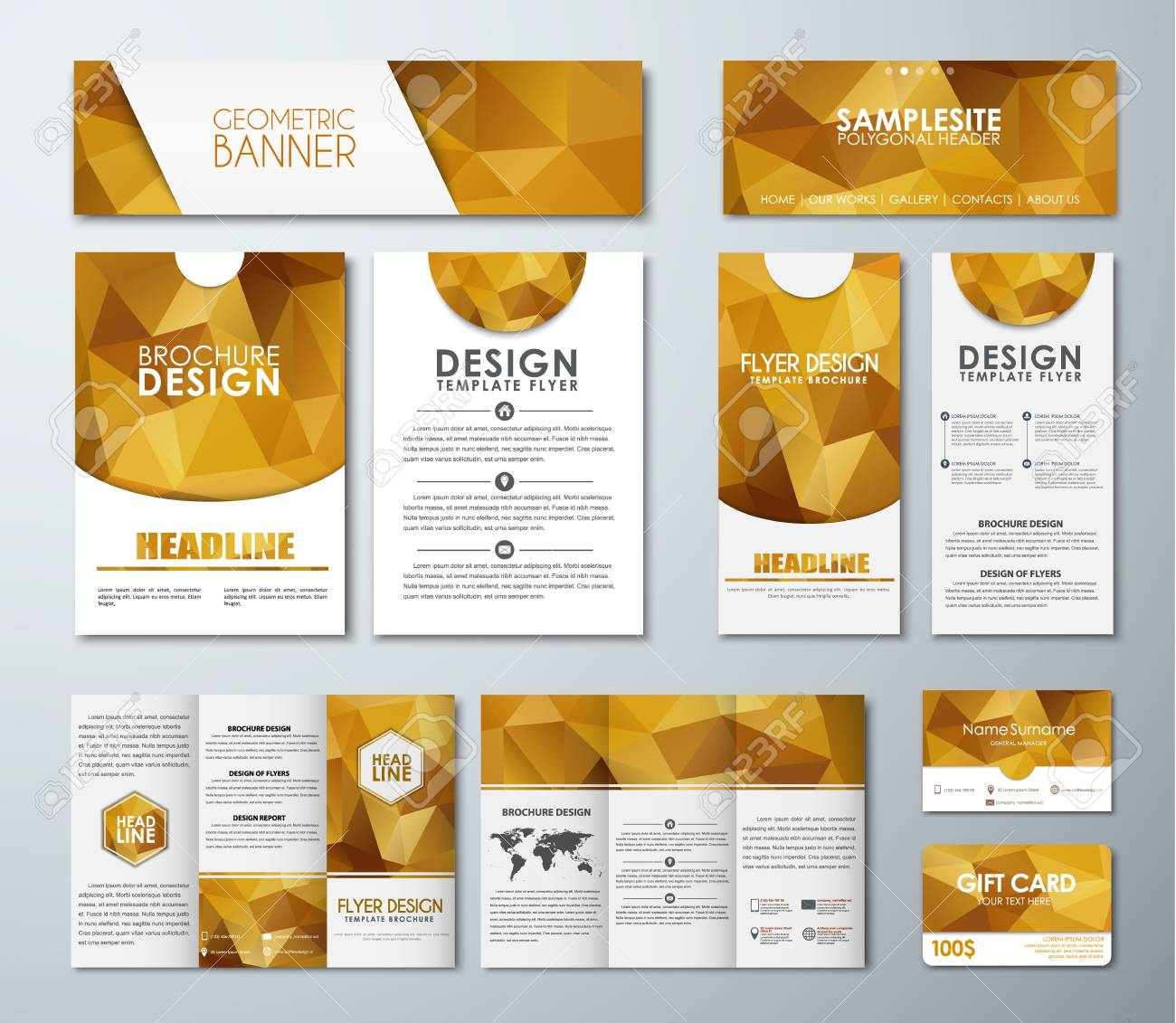 Templates Polygonal Golden Banners, Flyers, Brochures, Gift Cards ...