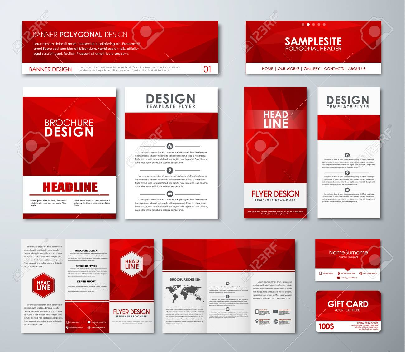 Design Polygonal Banners, Flyers, Brochures, Gift Cards, Folding ...