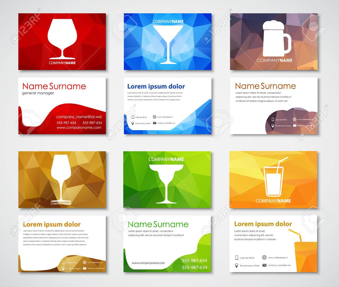 Design of business cards for cafes bars and restaurants polygonal design of business cards for cafes bars and restaurants polygonal colorful business card templates colourmoves