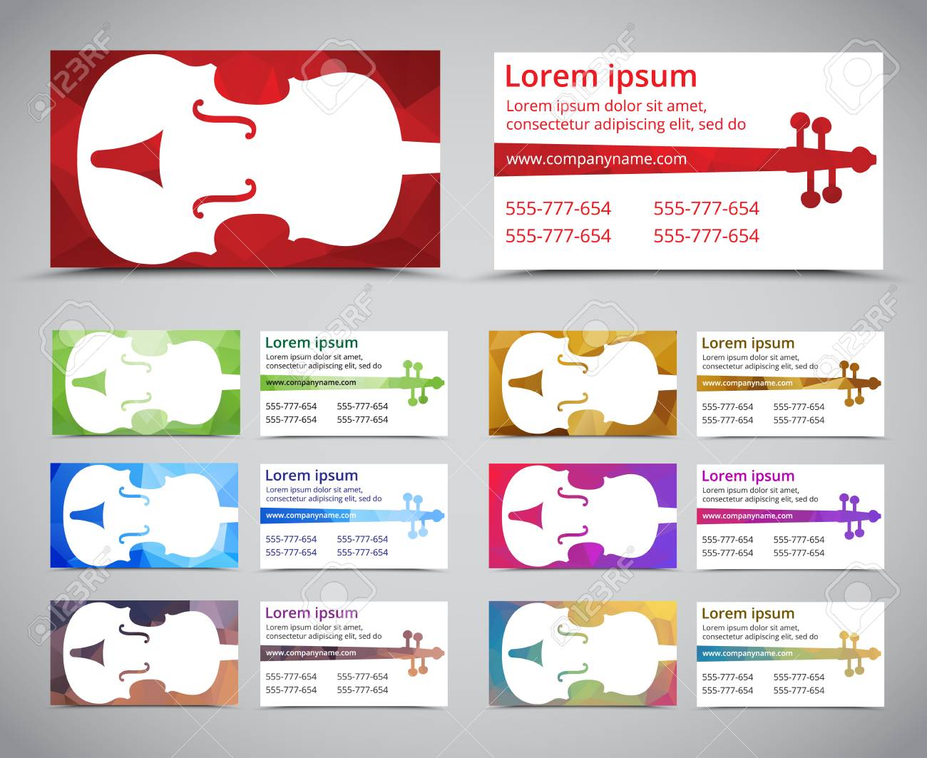 Set of multicolored polygonal music business card business card set of multicolored polygonal music business card business card template with violin on polygonal background flashek Image collections
