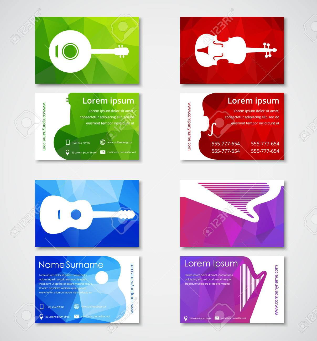 Design Of Business Cards For Musicians Or Music Stores. Polygonal ...