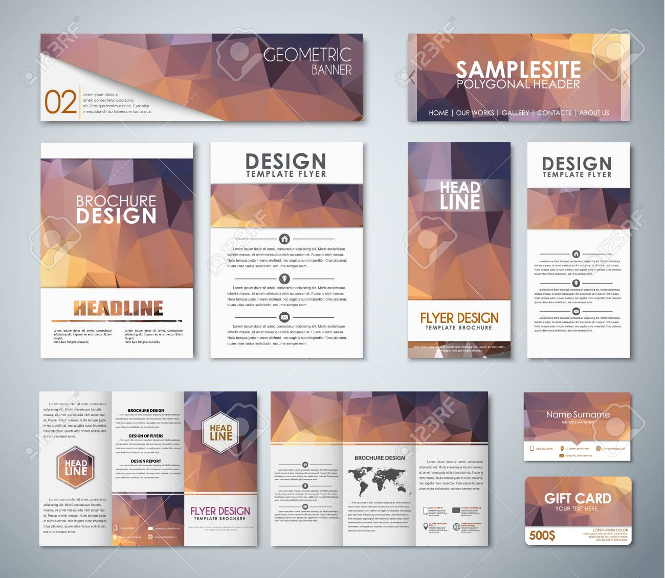 Corporate Style Design With Brown Polygonal Elements. Gift Card ...