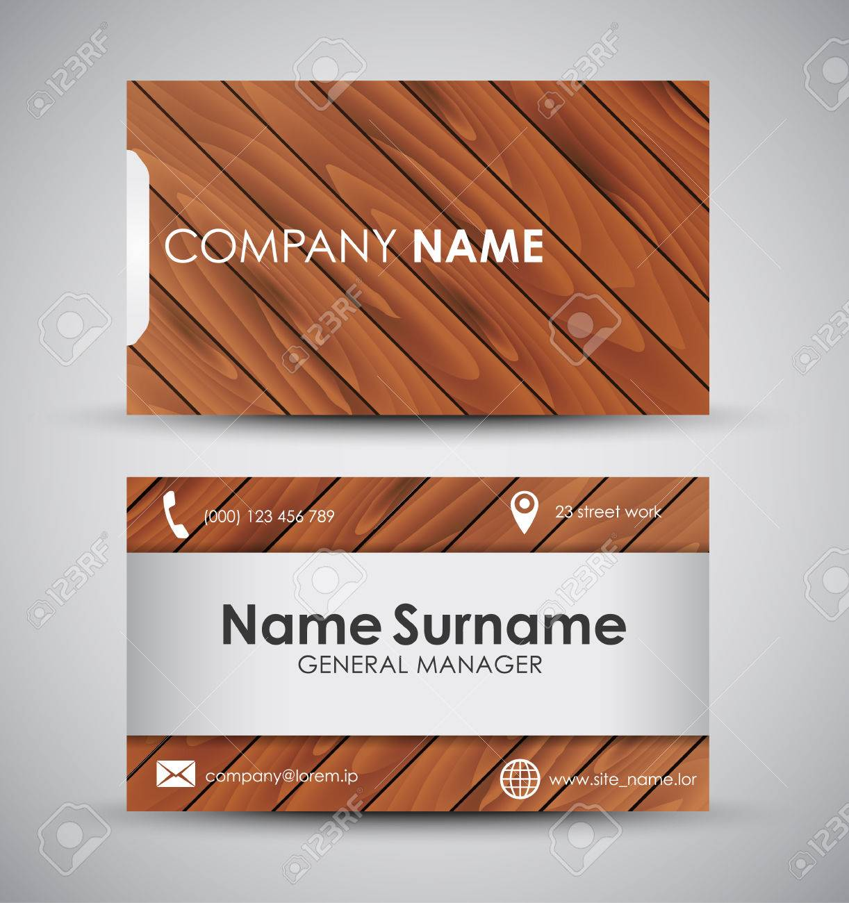 Business card template for the company or the individual design business card template for the company or the individual design with wooden diagonal texture and reheart Choice Image