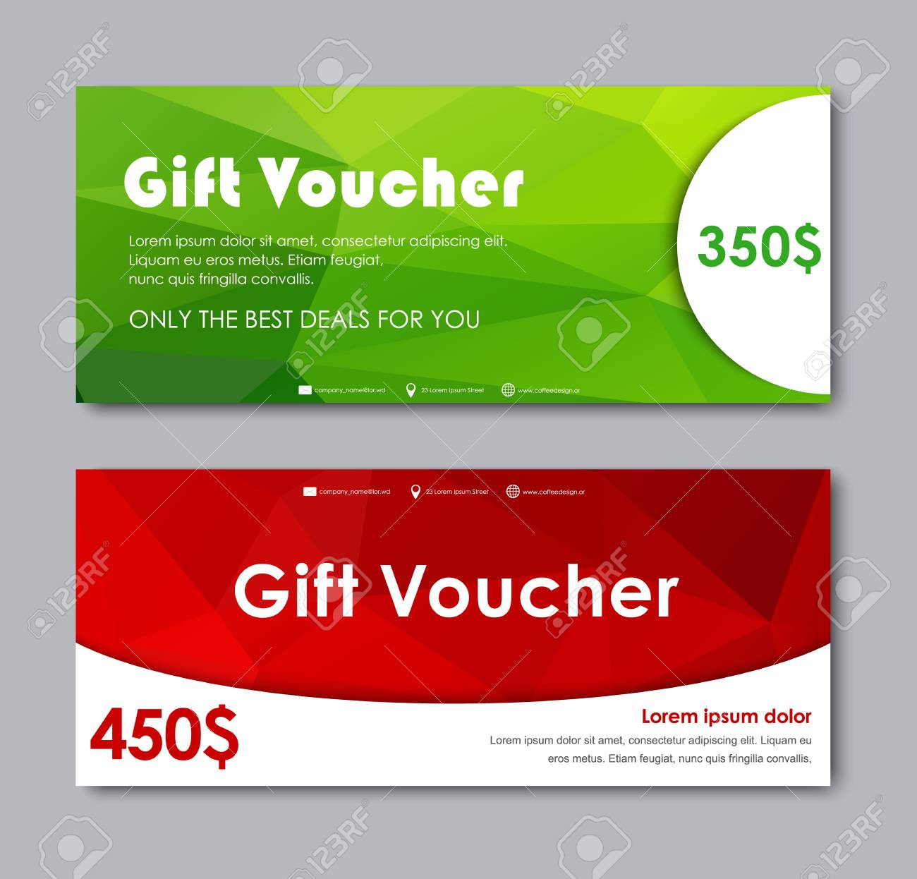 Set Of Gift Vouchers. Templates With Red And Green Polygonal ...