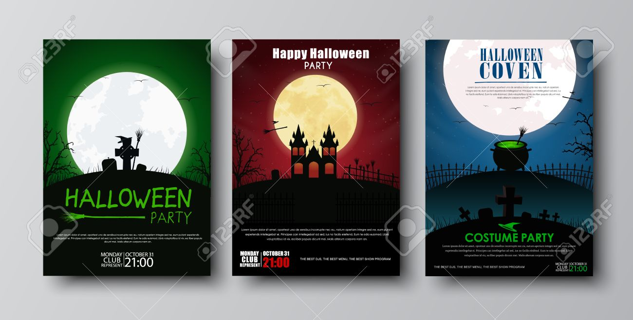Design Posters (flyers, Covers, Brochures) On Halloween. Templates With Red,