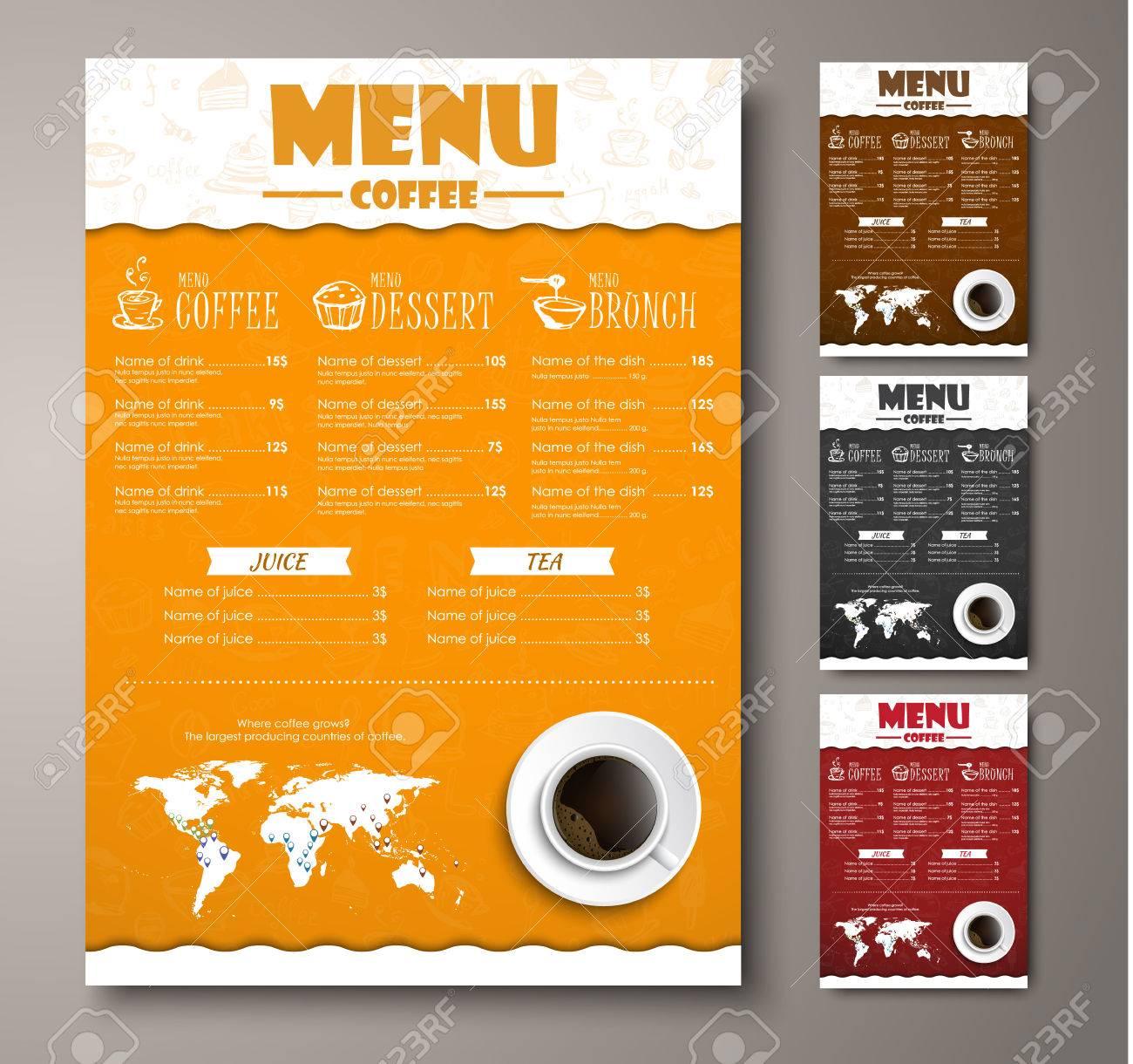 Design A Menu For The Cafe, A Restaurant, Coffee Shop. Templates Orange,