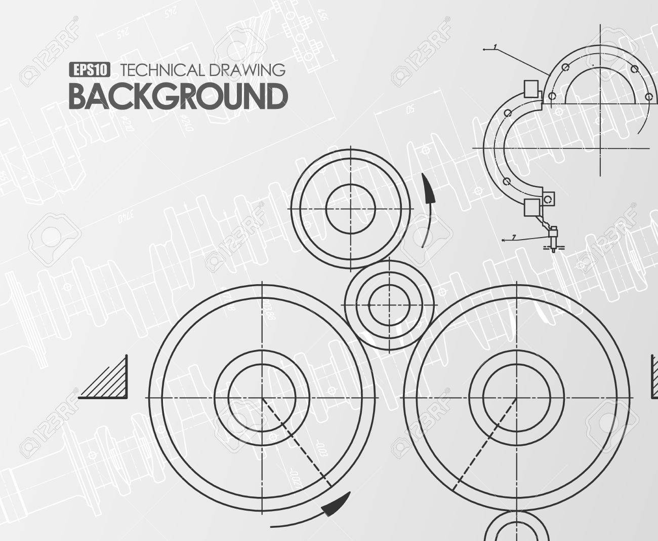 Template White Background With Technical Drawings Of Parts And ...