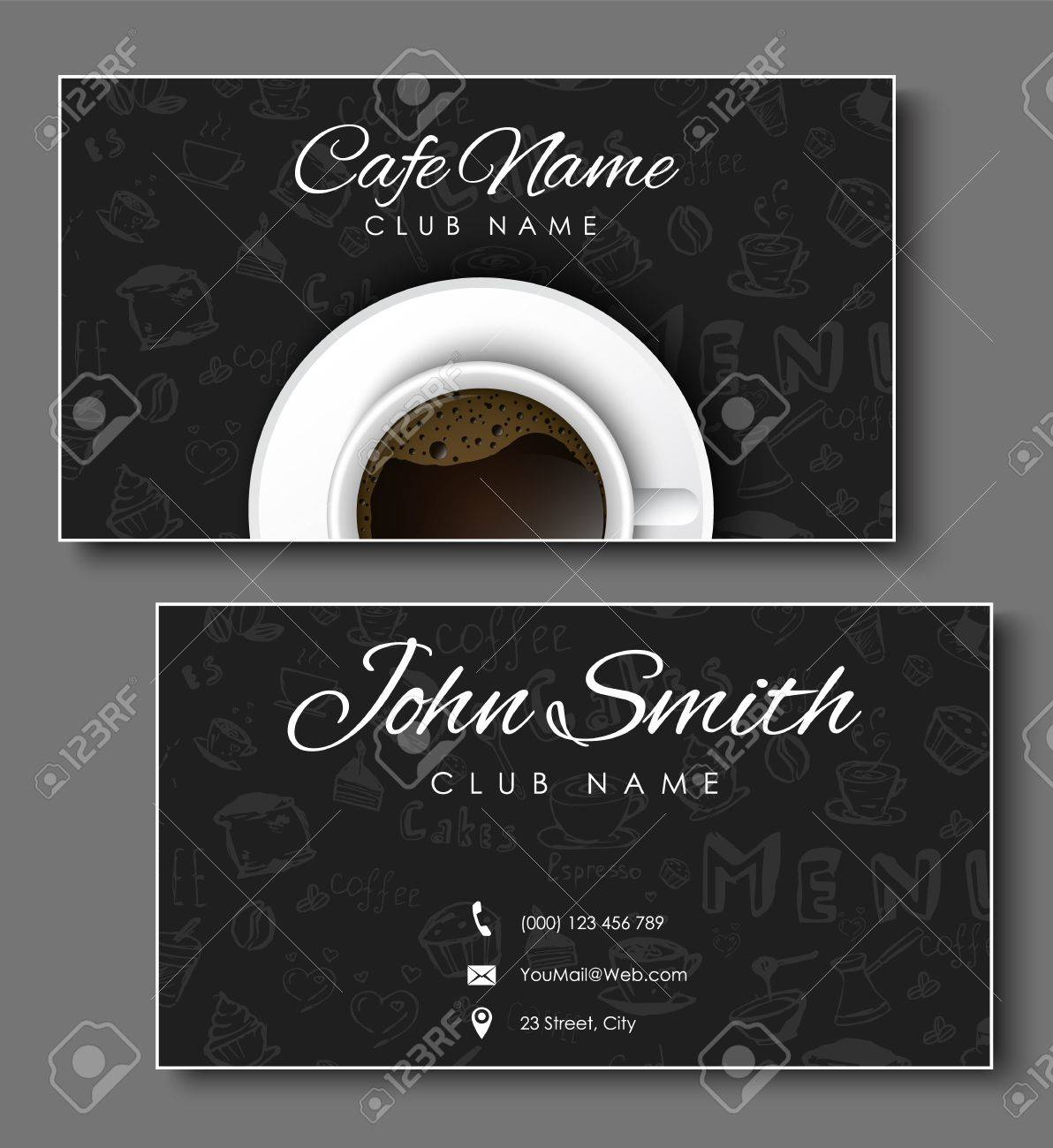 Set of black business cards for coffee shops and cafes templates set of black business cards for coffee shops and cafes templates with hand drawings and colourmoves