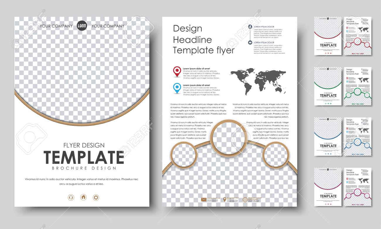 Template Color Flyers A4. Design 2 Pages Booklet With Circles ...
