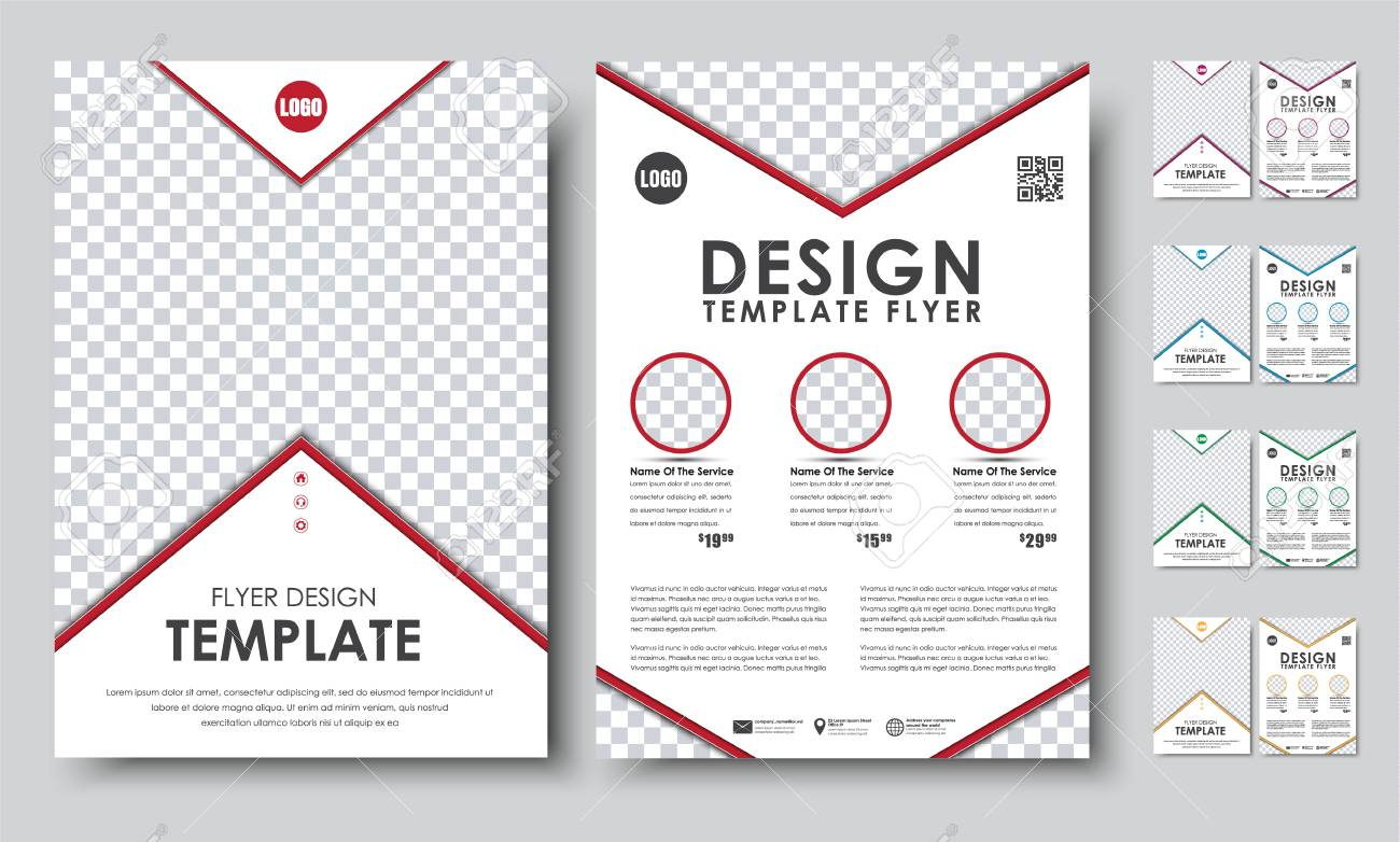 Set Of Colored Flyers A4. Template 2 Pages Booklet With Arrows ...