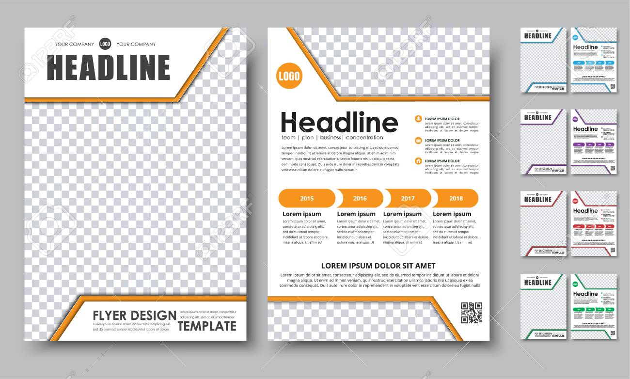 Set Of Colored Flyers A Brochure Templates With Space For Photos - A4 brochure template