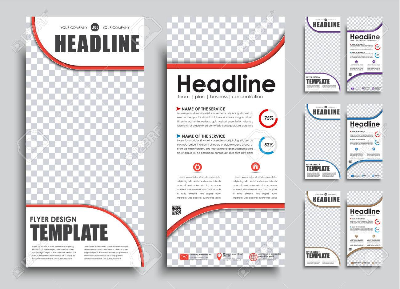 the design of two page flyer narrow templates banners with place