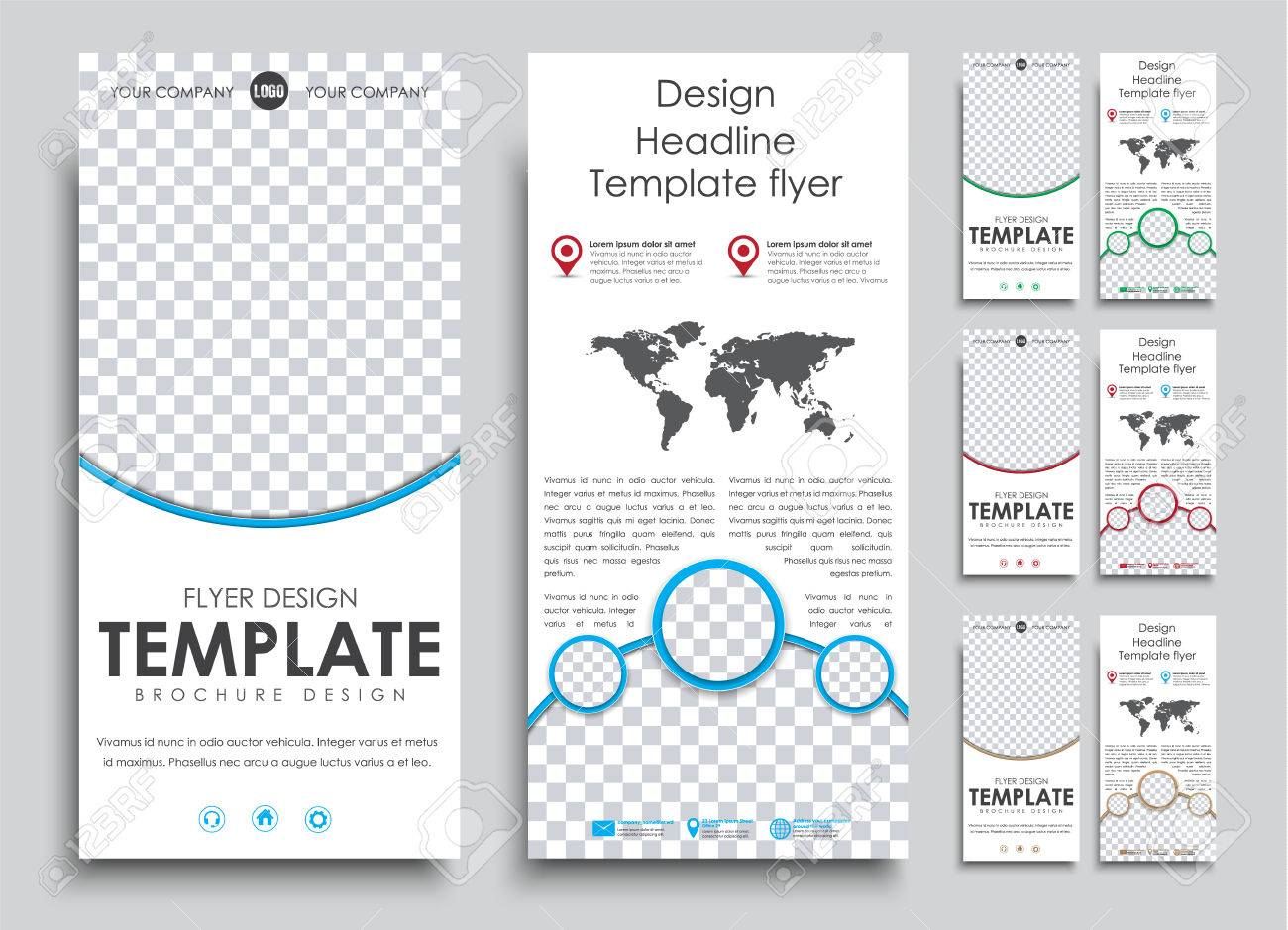 set flyer size 210h99 mm in 4 color options templates 2 pages