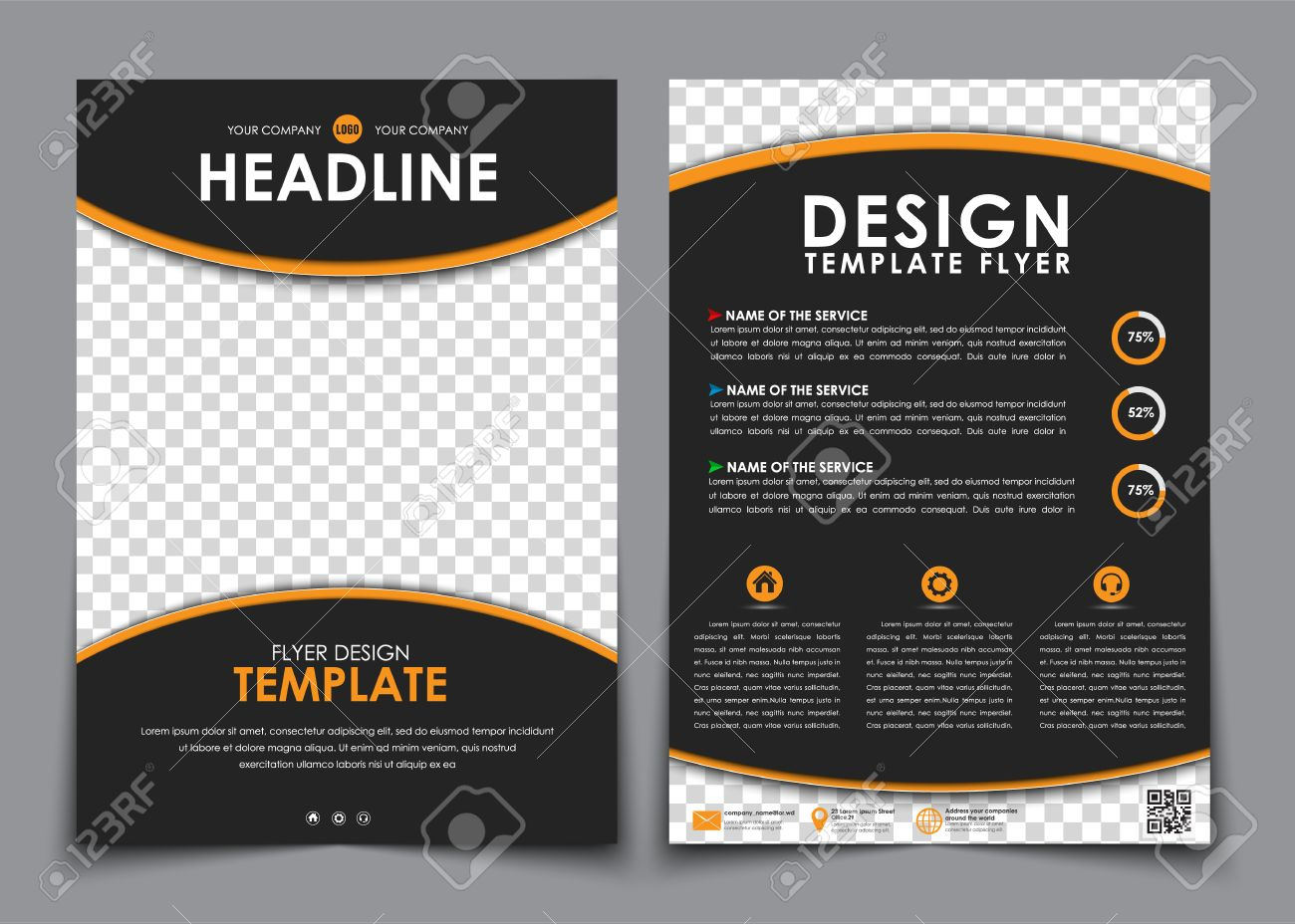 Design Flyers Black With Orange Elements. Brochure Templates ...