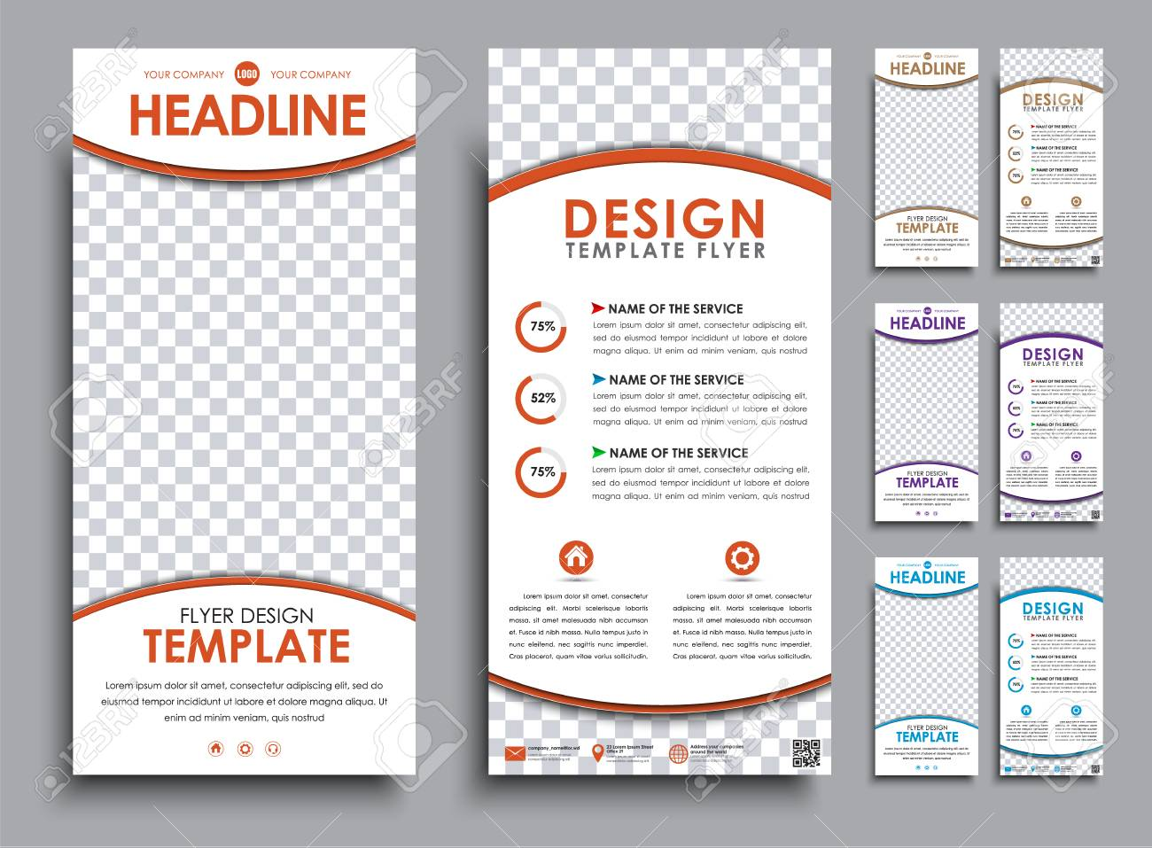 Design Of Flyers Size Of 210x99 Mm Templates 2 Pages With Space