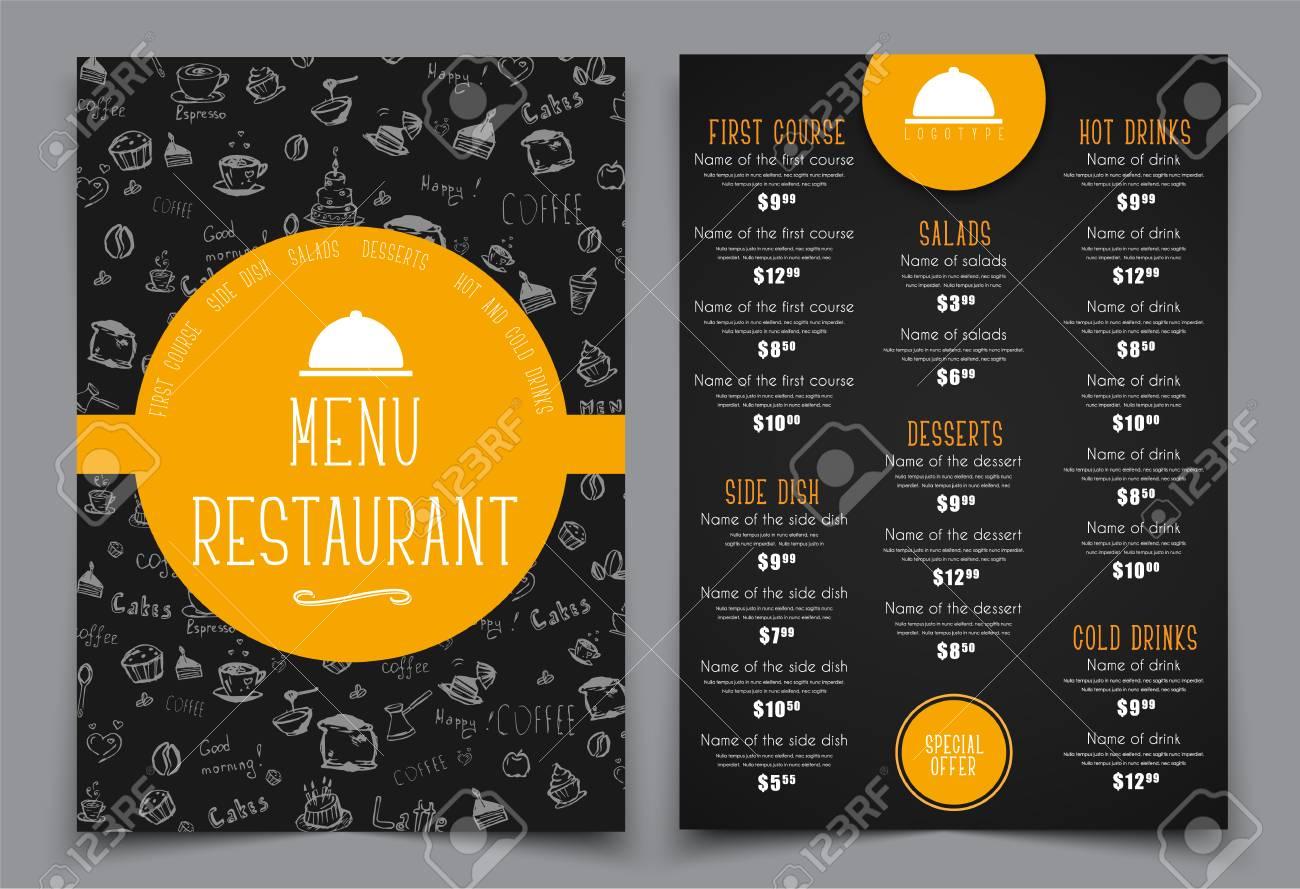 Diseña Un Menú Para Una Cafetería O Un Restaurante. Plantillas 2 ...