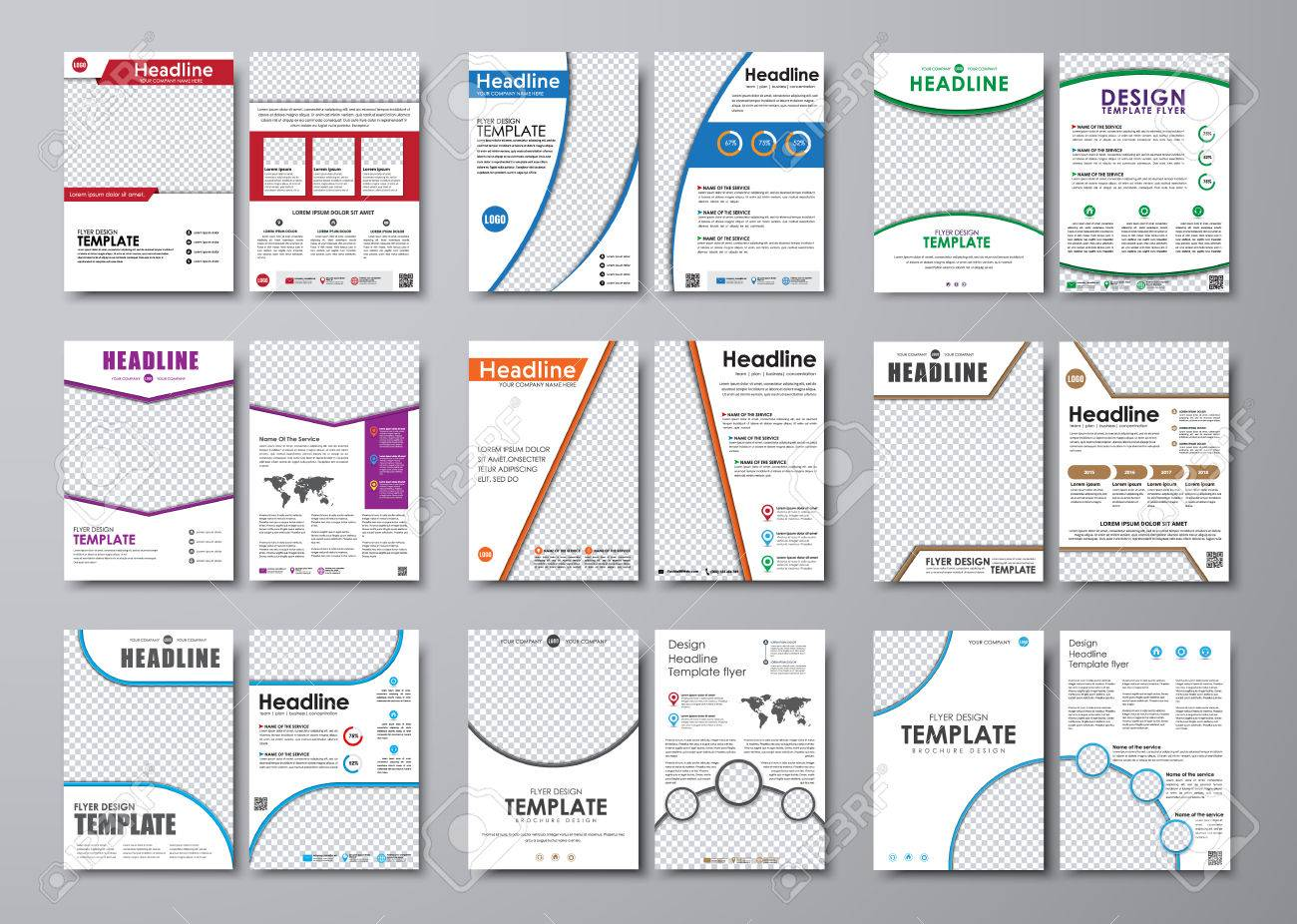 Big Set Of White Flyers With Different Geometric Elements. Templates ...