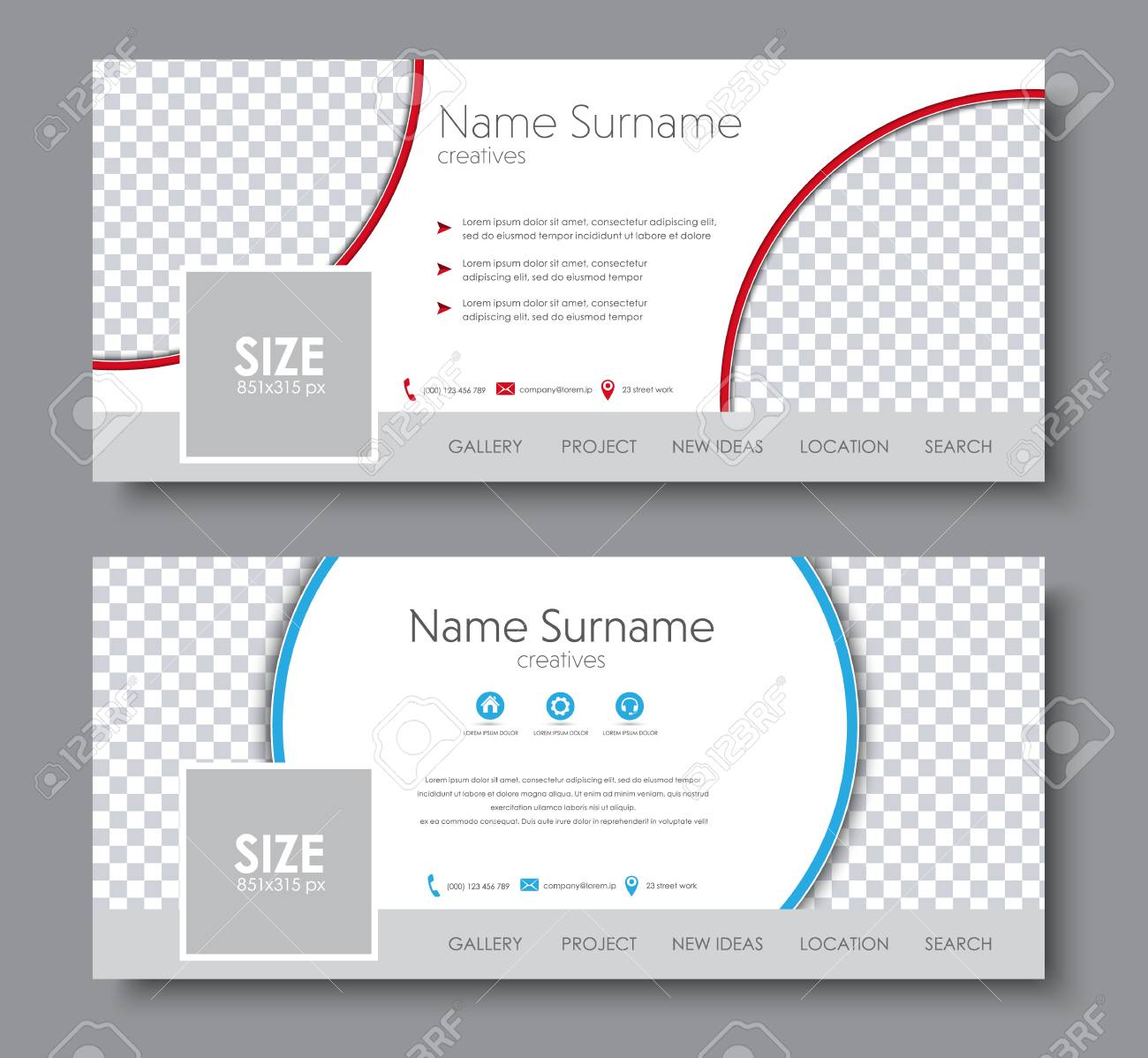 Set Of Banners For The Social Network. Template With Different ...