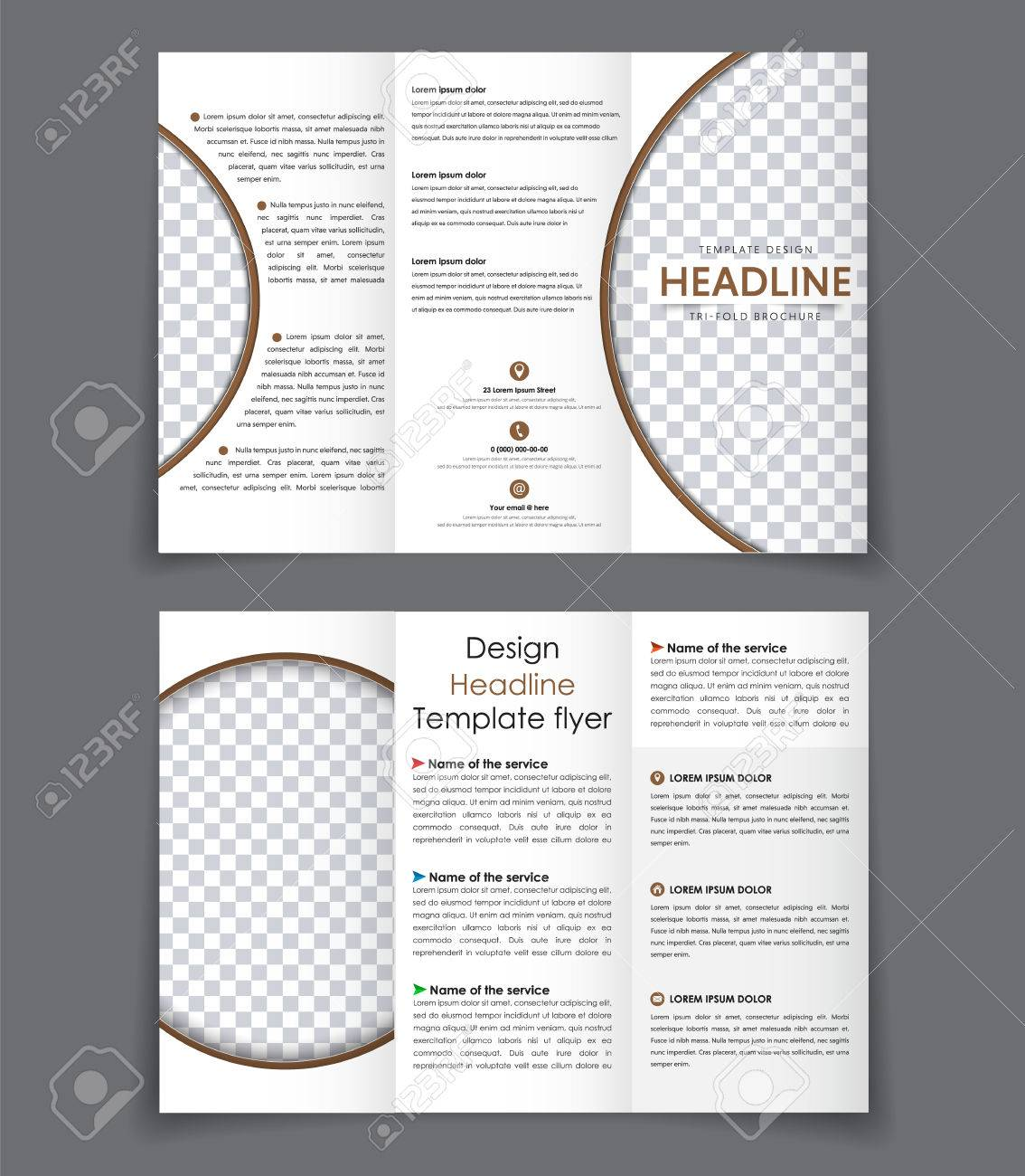 design folding brochures with brown elements template triple