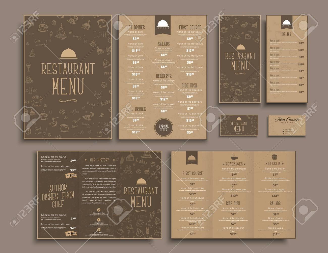 Conception De Menus A4 Brochures Depliants Et Cartes Visite Pliables Pour Un Restaurant Ou Cafe Les Modeles Dans Style Retro Marron