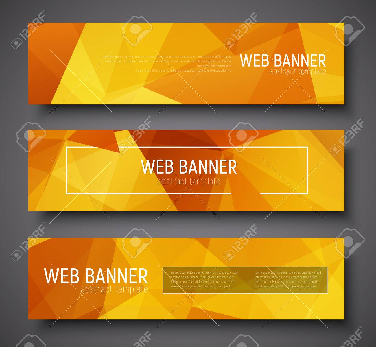 Set Of Horizontal Web Banner Standard Size. Template With Abstract ...