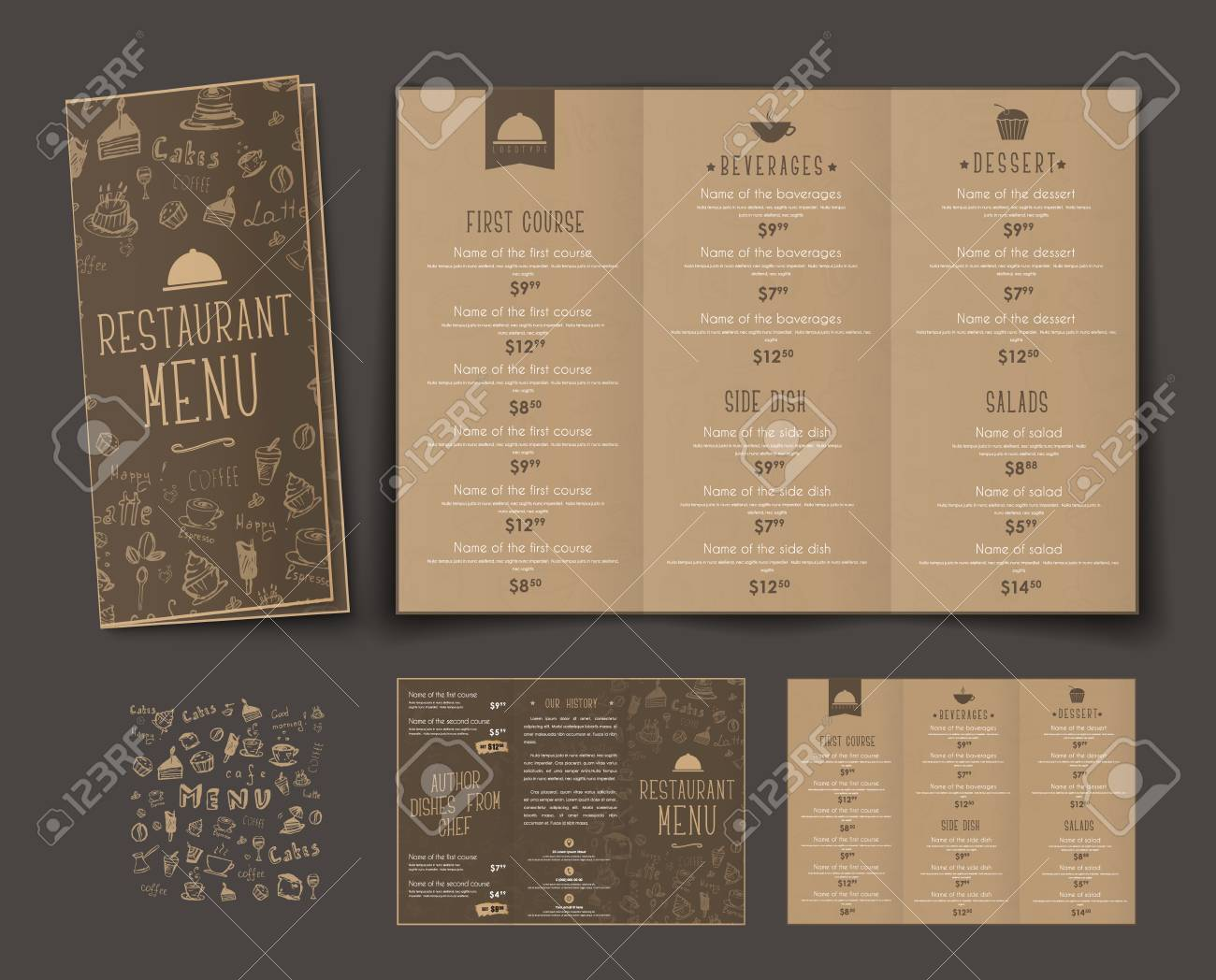 template of folding triple menu for cafes and restaurants the