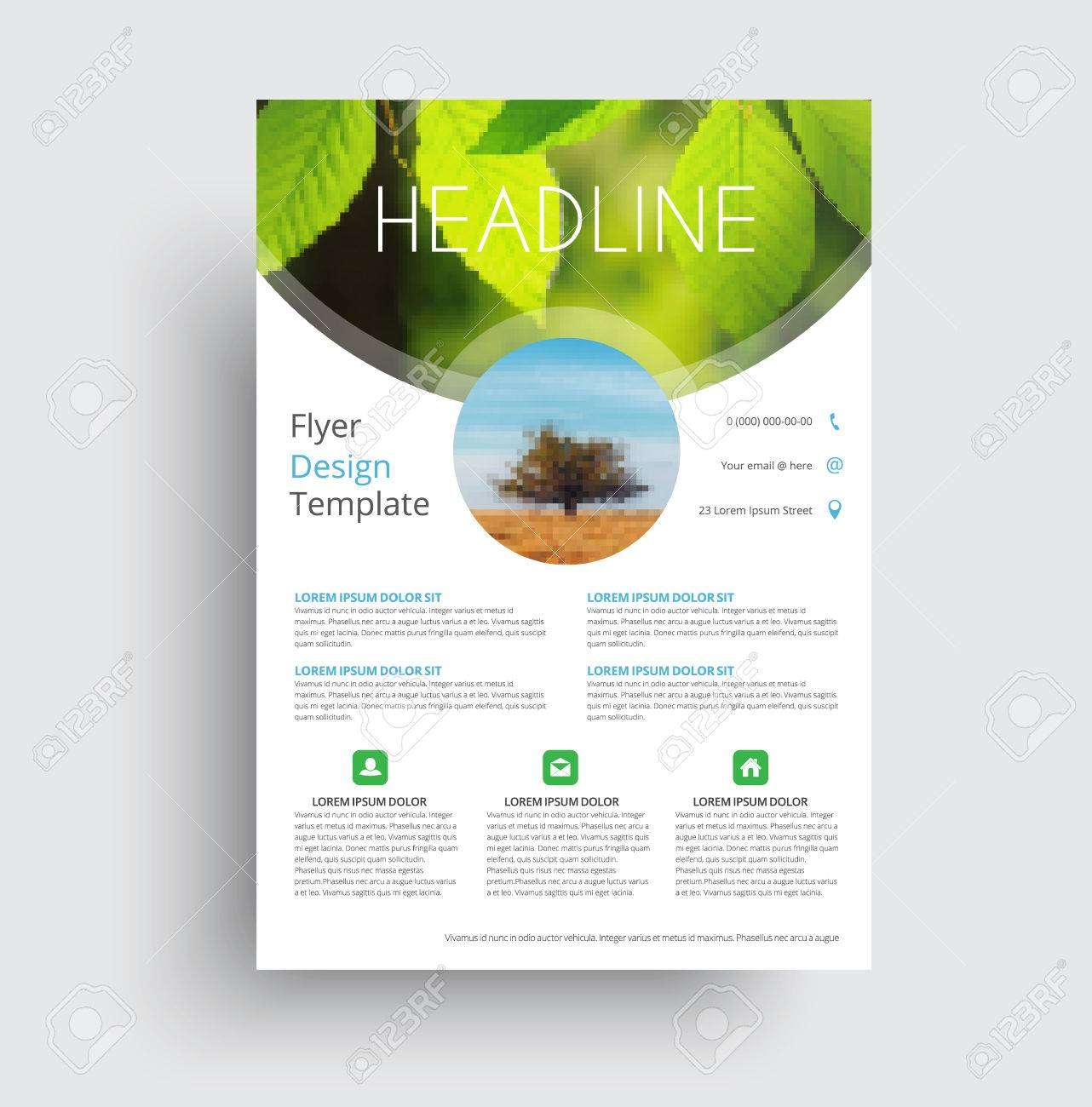 flyer format a4 format with round and semicircular elements for