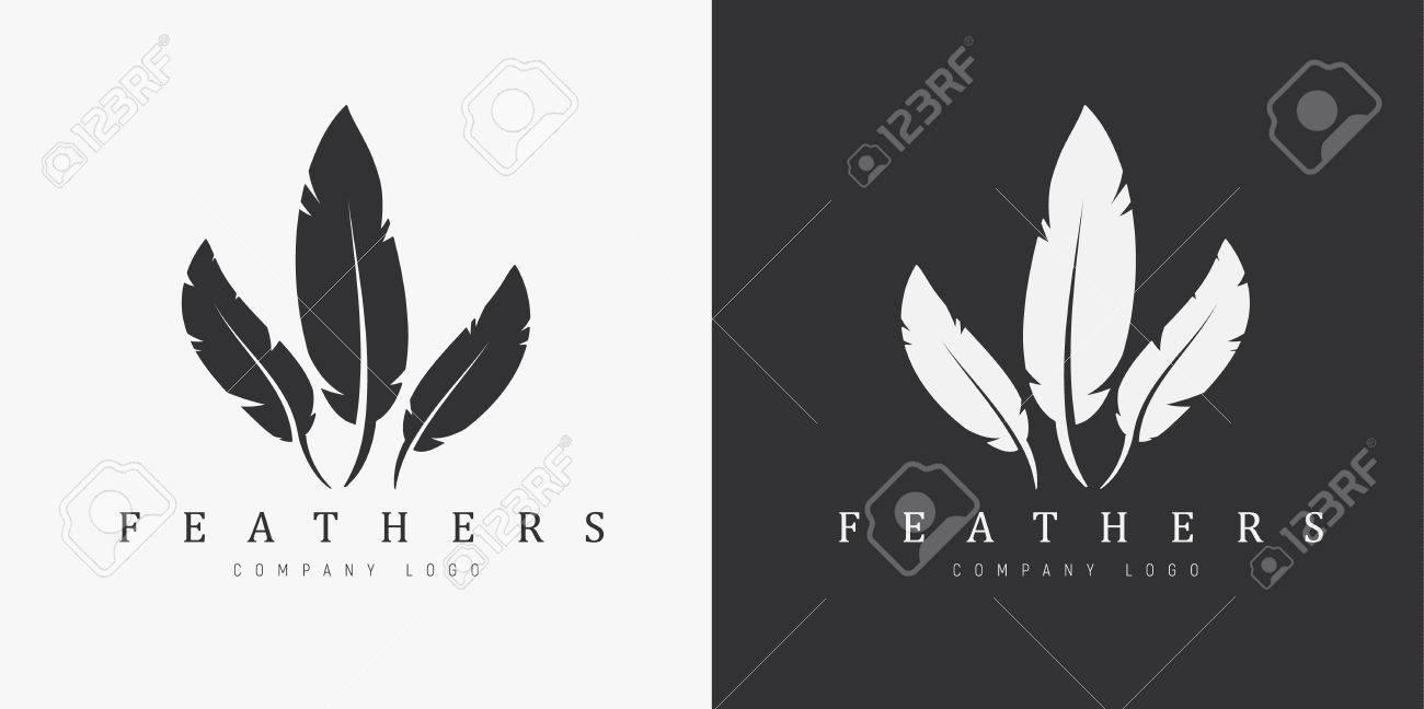 Diseño Del Logotipo En Un Fondo Blanco Y Negro Con Tres Plumas Y ...