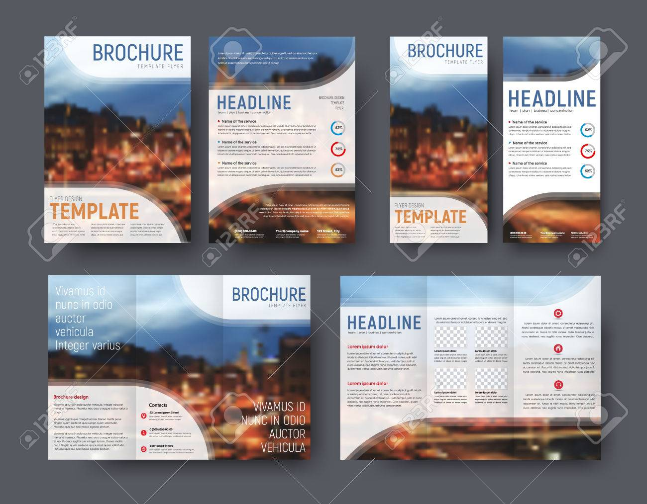 triple brochure template flyer a4 and a narrow banner with