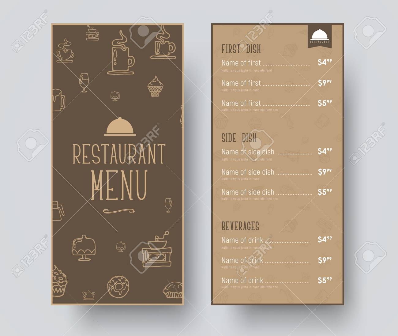 Design Of A Narrow Menu For A Restaurant Or A Cafe Template Royalty Free Cliparts Vectors And Stock Illustration Image 80951302