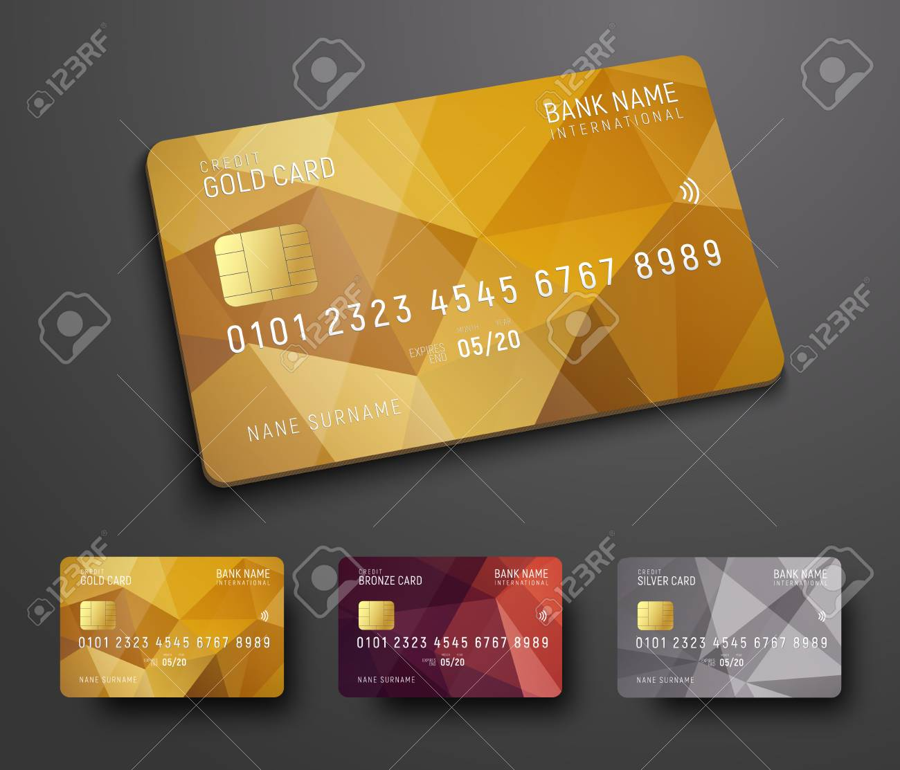 Carte Bancaire Or.Conception D Une Carte Bancaire De Credit Debit Avec Un Fond Abstrait Polygonal En Or Bronze Et Argent Modele Pour La Presentation Illustration