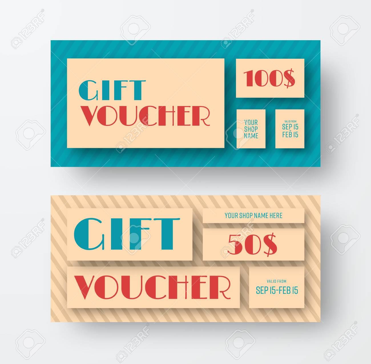 vector vintage gift voucher design template coupon in retro