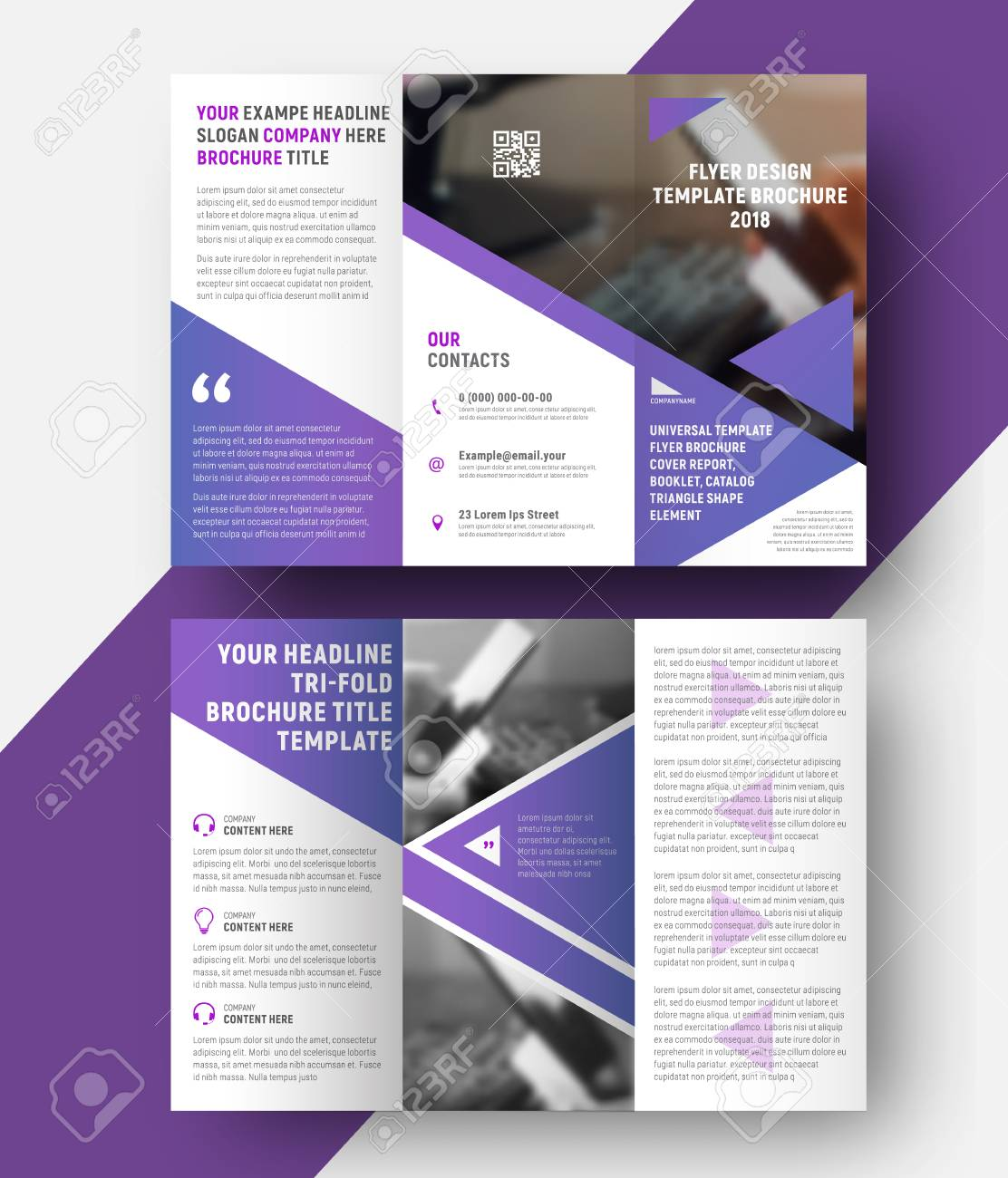 Vector Template Of A Three Fold Brochure With A Place For A Photo