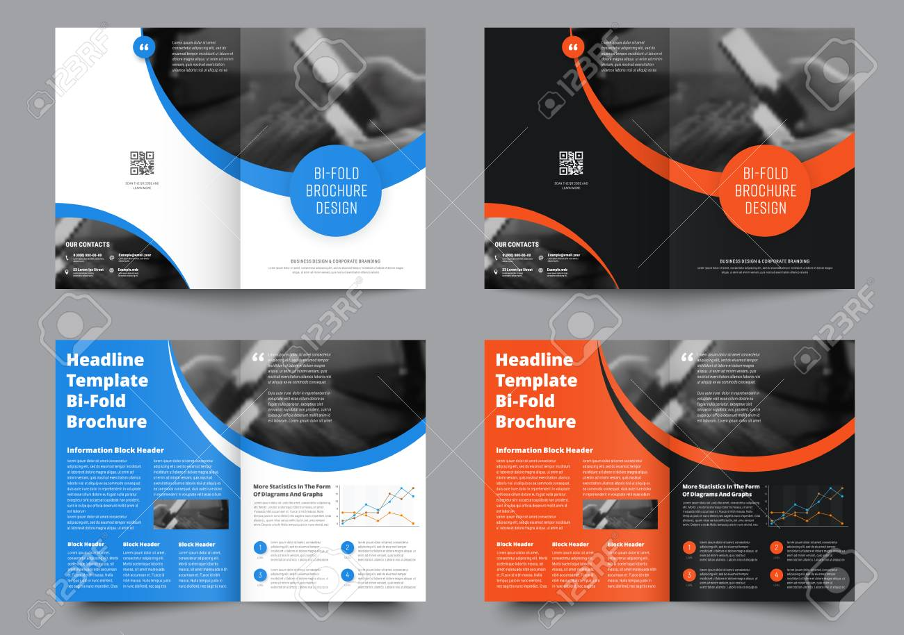 template of two bi fold brochures with round elements for the