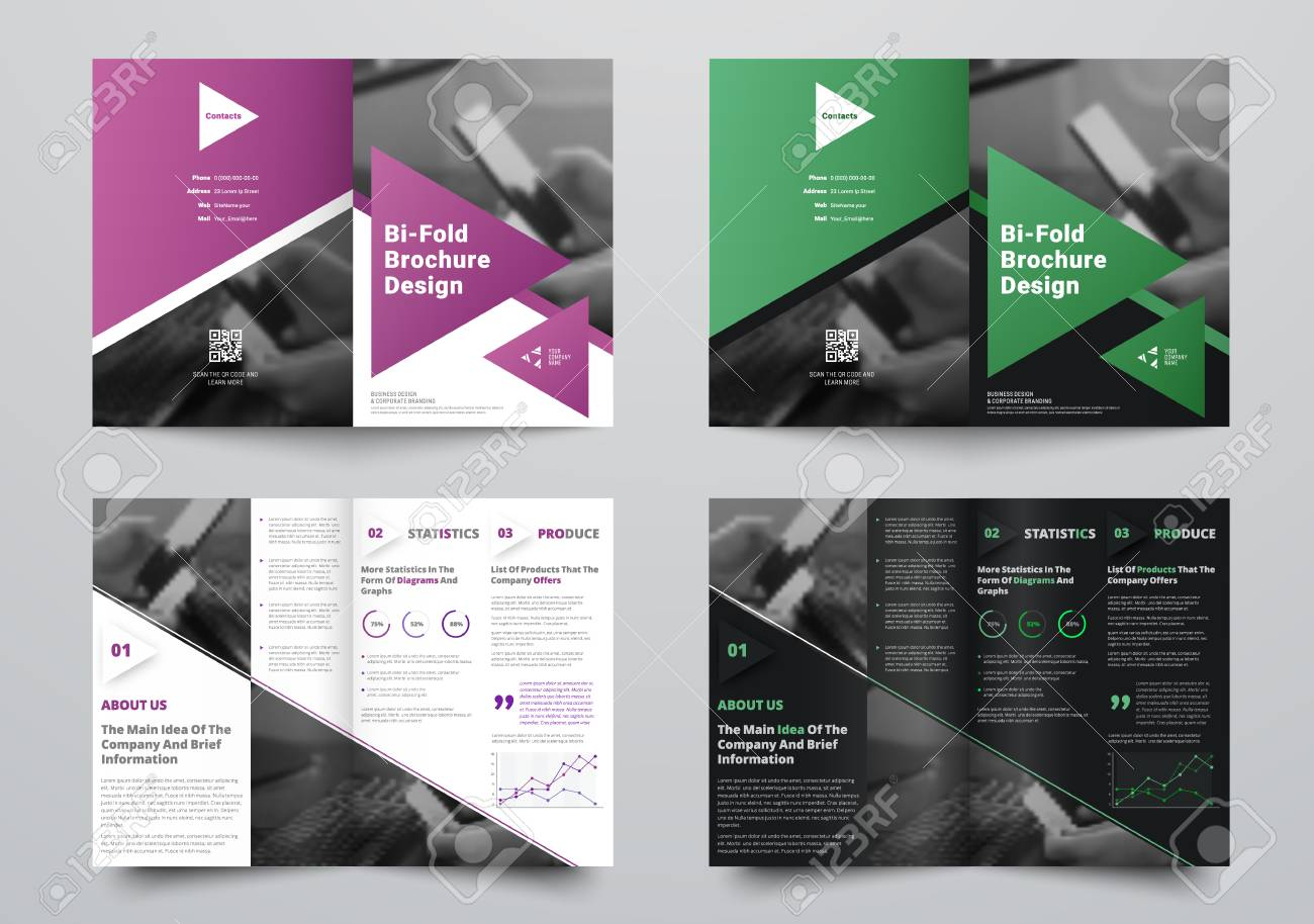 vector bi fold brochure for business with a place for photos
