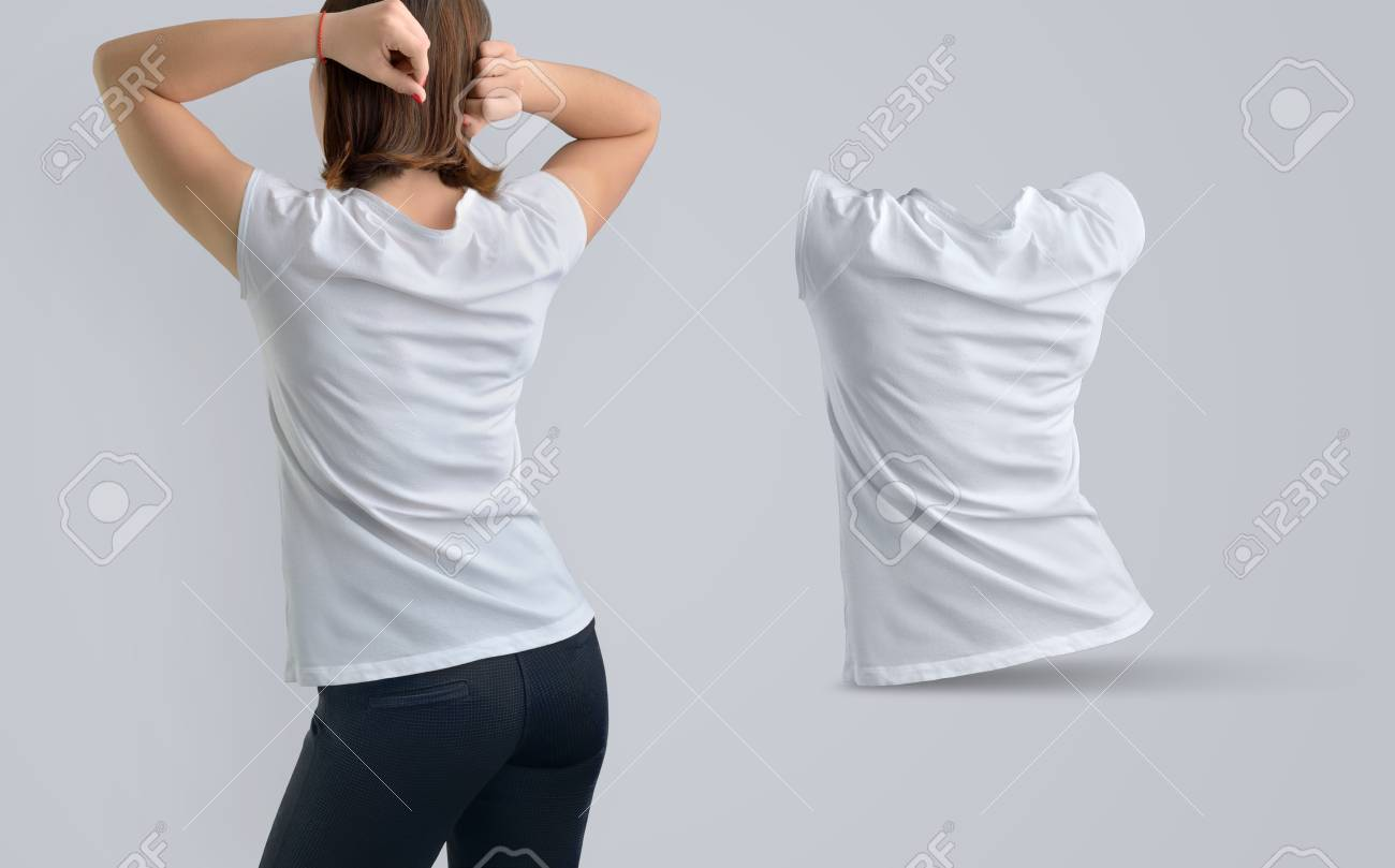 Female Template   Female Template Set With Slim Young Woman In The White T Shirt And