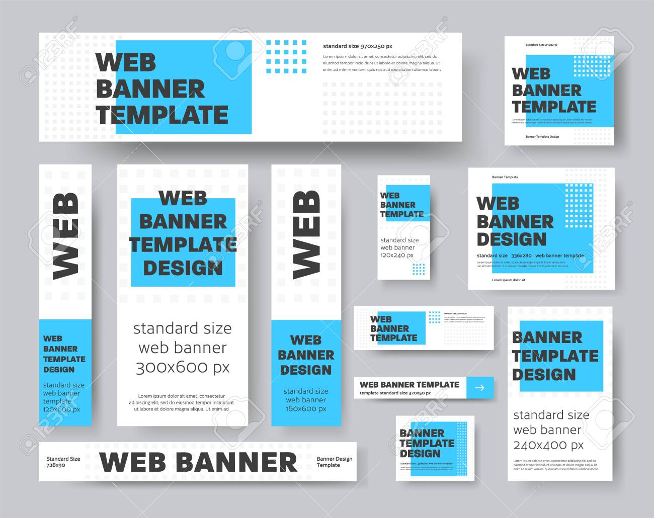 Set of vector geometric web banners with blue rectangle and gray squares. Template for advertising and social media. Sample design - 144617967