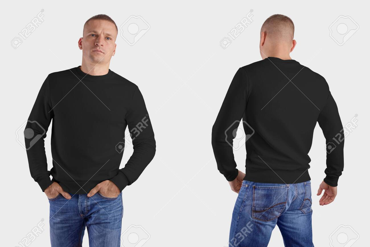 Set of male clothes on a man in blue jeans, front, back, mockup of a black sweatshirt with realistic shadows, for the presentation of design and pattern. Template of heather isolated on background - 145430093