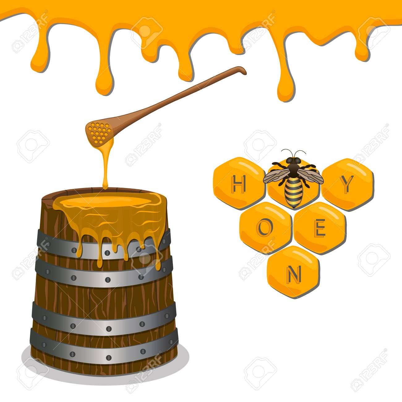 Abstract Vector Illustration Of Logo For The Bee Eating Honey In Honeycomb On Background