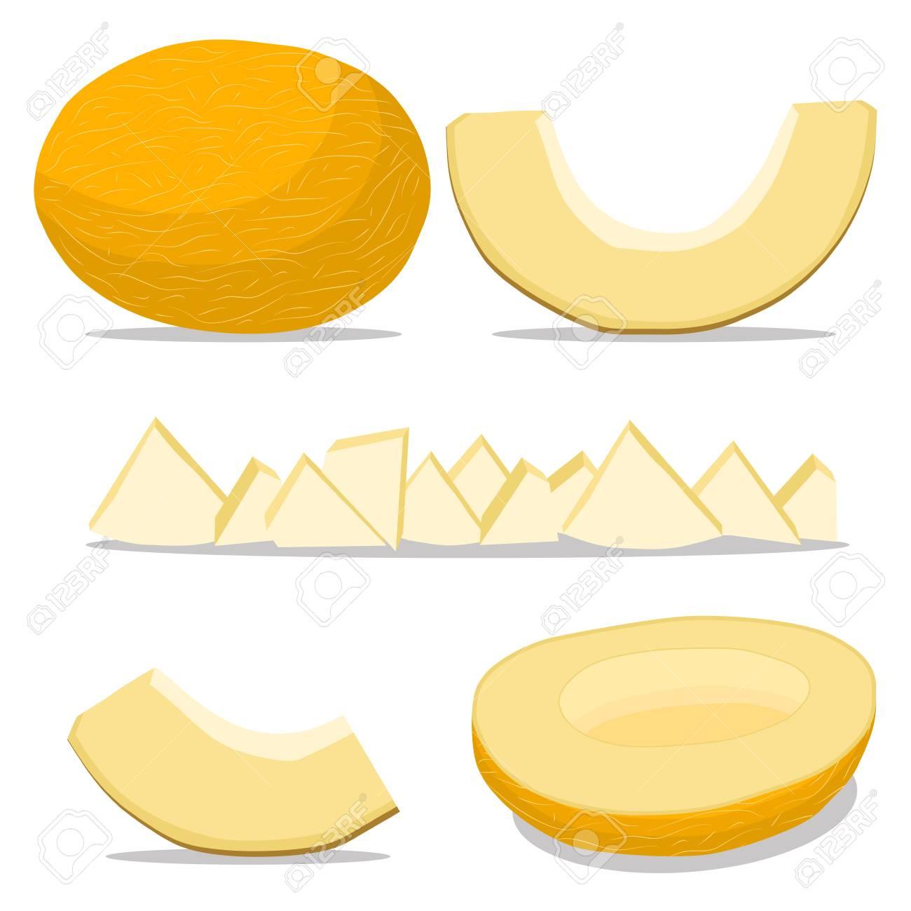 Vector illustration logo for whole ripe fruit yellow melon cut vector illustration logo for whole ripe fruit yellow melon cut half sliced cantaloupe buycottarizona Image collections